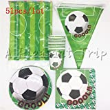 Lavenz 51pcs/lot green World Cup soccer theme children birthday party supplies soccer cups tablecloths straws party supplies