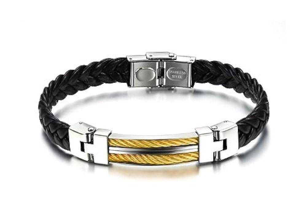 Men\'Armband in Leder Schwarz geflochten verstellbar mit Schnalle ...