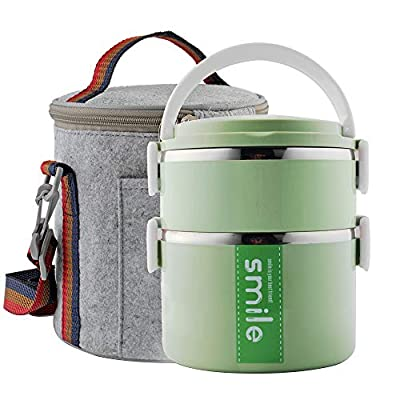 YBOBK HOME Bento Box, Stainless Steel Insulated Microwave Safe Stackable Bento Lunch Box Container with Bag and Spoon for Adults (Green): Kitchen & Dining