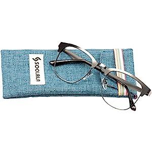 SOOLALA Mens Vintage Inspired Classic Semi Frame Horm Rimmed Reading Glasses, Gun, 3.0x