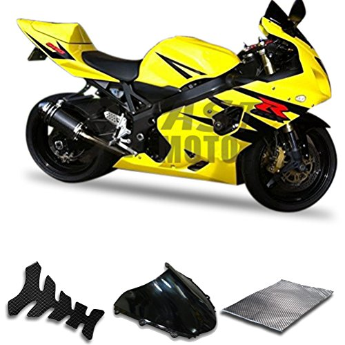 9FastMoto Fairings for suzuki 2004 2005 GSX-R600 GSX-R750 K4 04 05 GSXR 600 750 K4 Motorcycle Fairing Kit ABS Injection Set Sportbike Cowls Panels (Yellow & Black) S1215