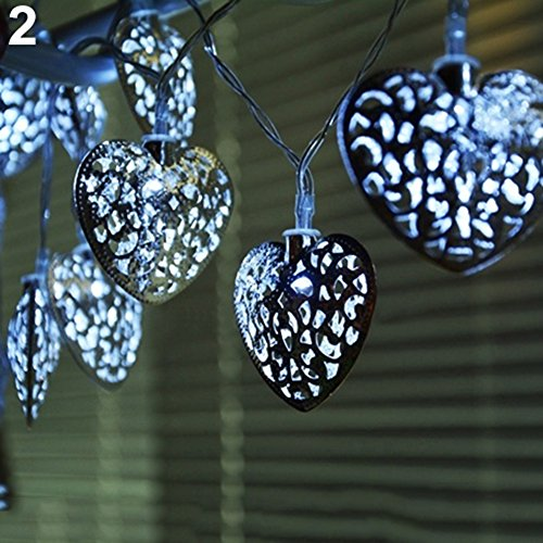 20 Led Silver Filigree Heart Indoor Fairy Lights in US - 2