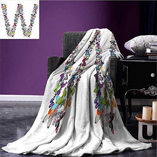 Letter W Throw Blanket Collection of Butterflies Language of Grace Alphabet Font Letter W Girls Design Degrees of Comfort Weighted Blanket Multicolor Bed or Couch 70