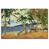 This ready to hang, gallery-wrapped art piece features people on a beach. Paul Gauguin was a leading Post-Impressionist painter. His bold experimentation with coloring led directly to the Synthetist style of modern art while his expression of the inh...