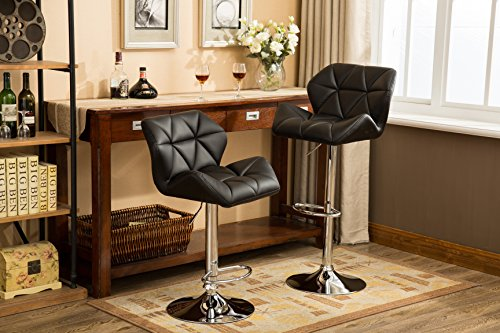 Roundhill Furniture PC190BK Glasgow Contemporary Tufted Adjustable Height Hydraulic Bar Stools, Set of 2, Black (And Bar Set Stools)