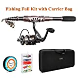 Plusinno TM Spin Spinning Rod and Reel Combos Carbon Telescopic Fishing Rod