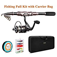 Plusinno TM Spin Spinning Rod and Reel Combos Carbon Telescopic Fishing Rod with Reel Combo Sea Saltwater Freshwater Kit Fishing Rod Kit (2.1M 6.89Ft)