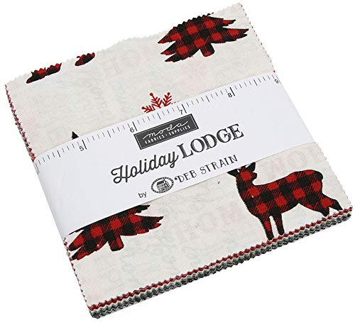 Holiday Lodge Charm Pack by Deb Strain; 42-5 Inch Precut Fabric Quilt Squares