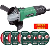 "Hitachi G12ST 115mm / 4.5"" Angle Grinder 580W 110V with 5 x Metal Cutting Discs"