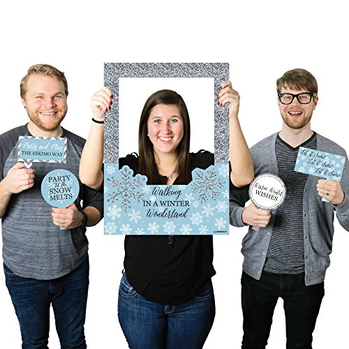 Big Dot of Happiness Winter Wonderland - Snowflake Holiday Party & Winter Wedding Selfie Photo Booth Picture Frame & Props - Printed on Sturdy Material