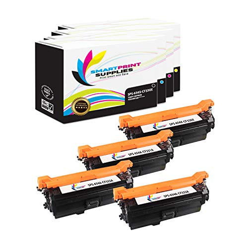 Smart Print Supplies Compatible 654A Toner Cartridge Replacement for HP Laserjet M651 Printers (CF330X Black, CF331A Cyan, CF333A Magenta, CF332A Yellow) - 4 Pack ()