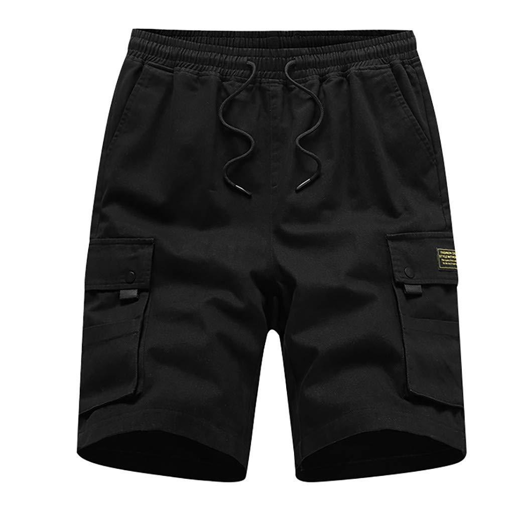 MODOQO Shorts Pants for Men-Gym Soft Cotton Multi-Pocket Drawstring Shorts(Black,CN-5XL/US-3XL)