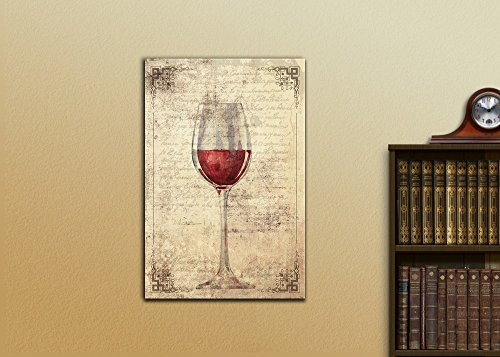 A Glass of Red Wine on Vintage Letter Background