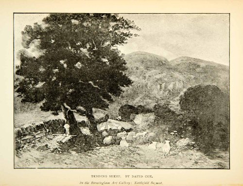 1891-print-tending-sheep-herd-shade-david-cox-landscape-english-tree-paddock-original-halftone-print