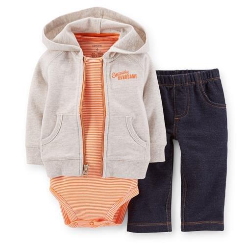 Carter's Baby Boys 3-Piece Hooded Cardigan Set - Captain Adorable - Orange - 12 Months