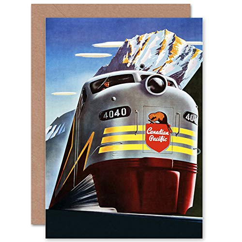 nsport Canadian Pacific Rail Mountain Canada Train Greetings Card CP1287 (Canada Pacific Train)