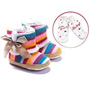 LIVEBOX Baby Multicolor Cotton Knit Premium Soft Sole Anti-Slip Warm Winter Infant Prewalker Toddler Snow Boots (S: 0~6 Months)