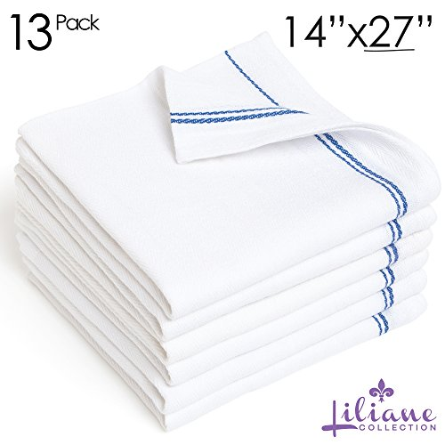 13 Pack Kitchen Dish Towels - Commercial Grade Absorbent 100% Cotton Kitchen Towels - Classic Tea Towels - Liliane Collection Premium Blue Towels