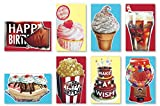 Assorted Handmade Scratch n Sniff Embellished Scented Birthday Cards Box Set, 8 Pack Birthday Card Assortment Including: Vanilla, Chocolate, Strawberry, Banana, Bubble Gum, Mom, Dad, Kids, Girls, Boys