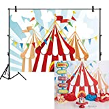 Allenjoy 7x5ft Photography Backdrop Background Circus Tents Stratus Playground Carnival Carousel Kids Birthday Party Banner Photo Studio Booth photocall