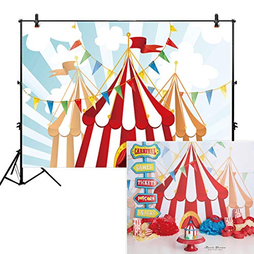 Allenjoy 7x5ft Photography Backdrop Background Circus Tents Stratus Playground Carnival Carousel Kids Birthday Party Banner Photo Studio Booth photocall -