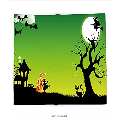 Custom printed Throw Blanket with Halloween Decorations by Witch Dancing around the Fire at Halloween Ancient Western Horror Illustration Decor Green Black Super soft and Cozy Fleece (Halloween At Freddy's Mlp)