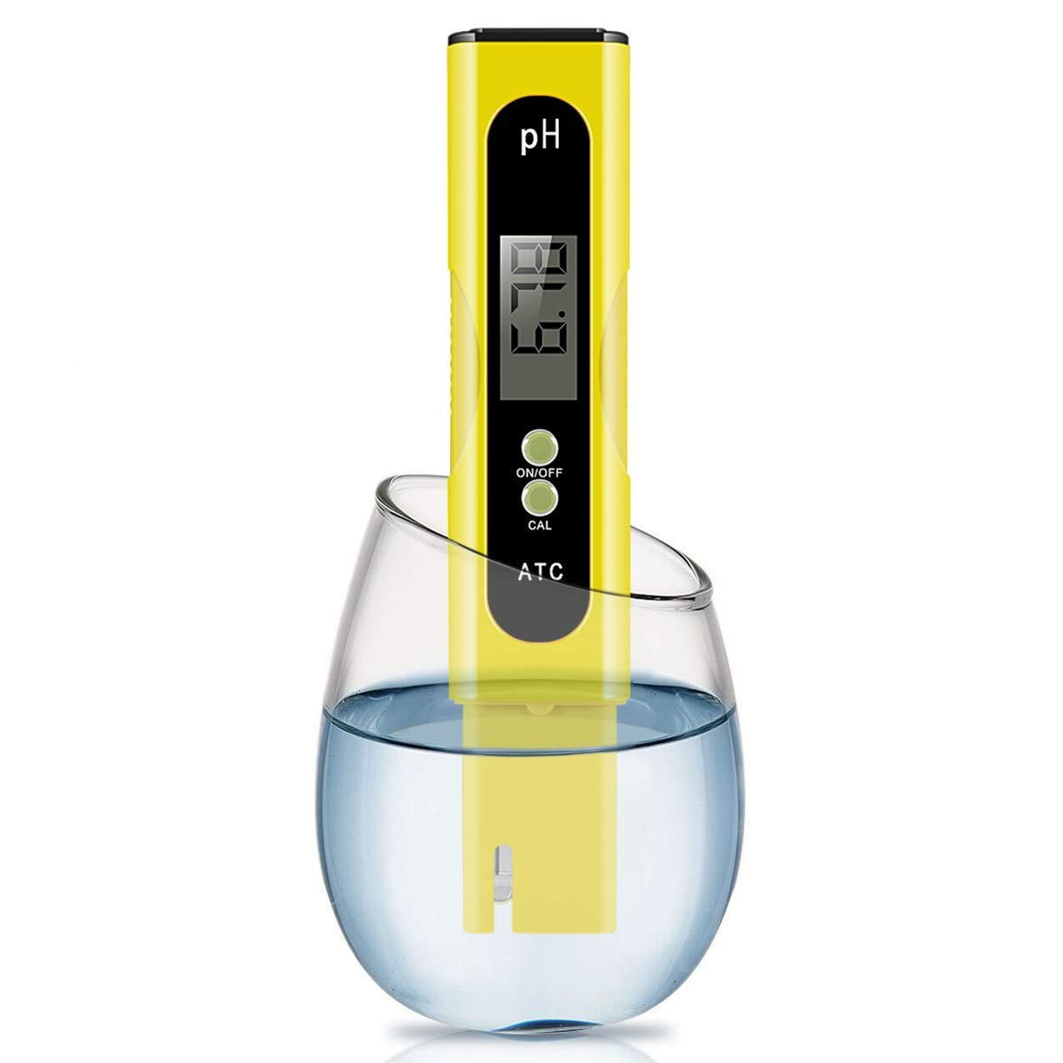 Digital PH Meter, Wellcows PH Meter 0.01 PH High Accuracy Water Quality Tester with 0-14 PH Measurement Range for Household Drinking, Pool and Aquarium Water PH Tester Design with ATC (Yellow)
