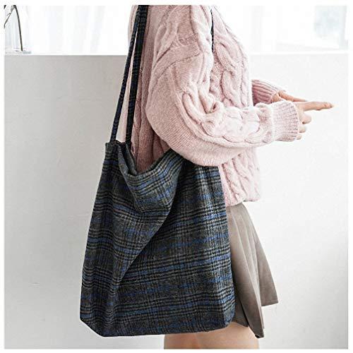 Womens Shoulder Bags Autumn Winter Women Woolen Canvas Shoulder Bag Ladies Vintage Plaid Handbag Totes Female Cotton Wool Cloth Shopping Bags Blue Plaid