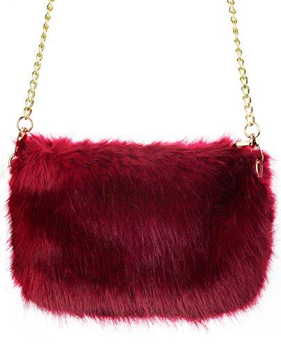 Fur C Women's Shoulder Crossbody C Red Clutch Fuzzy Faux Purse Evening Bag FFBUTH4qWw