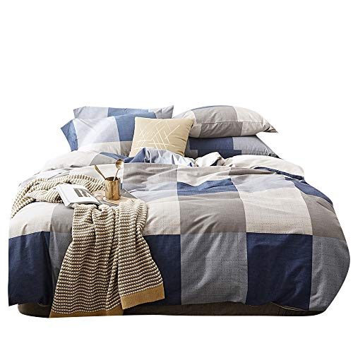 Scandinavian Duvet Covers Checkered Geometric Bedding Set Navy Blue Gray Cotton Reversible Home Textile Modern Bedroom Set Queen (Inexpensive Bedding Sets)