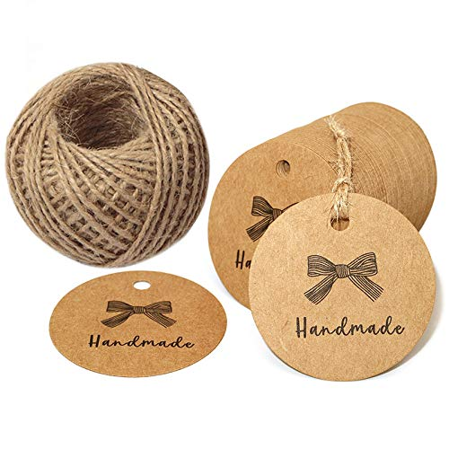 (100 PCS Handmade Tags Kraft Paper Hang Tags 2'' Round Tags Craft Gift Tags with 100 Feet Natural Jute Twine Perfect for Arts & Crafts DIY Gift)