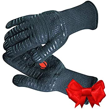 GRILL HEAT AID Extreme Heat Resistant Grill/BBQ Gloves   Premium Insulated Durable Fireproof Kitchen Mitts Designed For Cooking, Grilling, Frying, Baking   Indoor/Outdoor Accessories For Men & Women