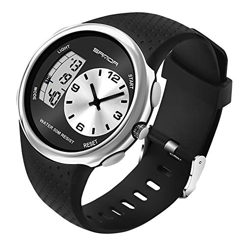 Analog Digital Watches, Dual Display Waterproof 50M Sports Watch with EL Backlight Alarm Stopwatch Hourly Chime Wrist Watch for Men