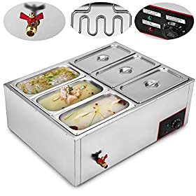 VEVOR Commercial Food Warmer 110V 6-Pan Electric Food Warmer 850W Stainless Steel Bain Marie Buffet Food Warmer Steam Table for Catering and Restaurants