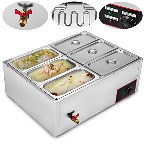 VEVOR 110V Commercial Food Warmer 6-Pan Electric Food Warmer 850W Stainless Steel Bain Marie Buffet Food Warmer Steam Table for Catering and Restaurants (6-Pan) ()
