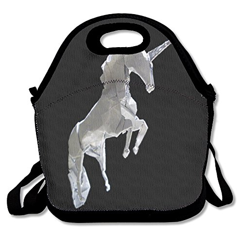 Unicorn Horse Funny Insulated Thermos Polyester Strap Women Men Kids Toddler Black Lunch Bag Tote Food Storage Carrying Case For School Office