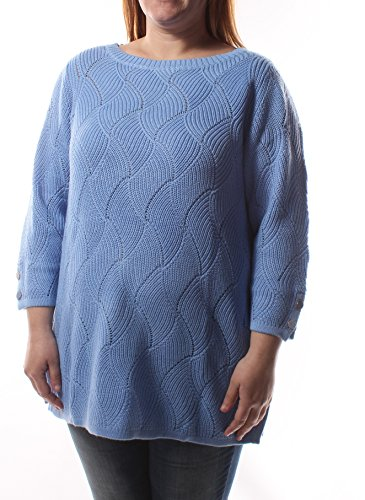 Charter Club Light Blue Geometric Jewel Neck 3/4 Sleeve Sweater OX ()