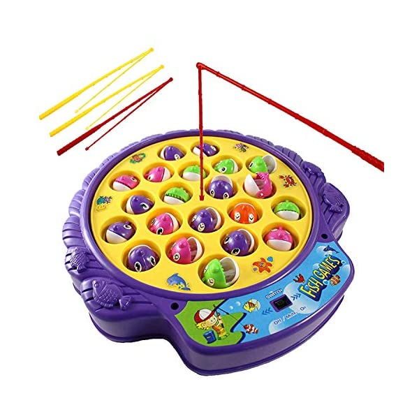 Haktoys Fishing Game Toy Set with Single-Layer Rotating Board   Now with Music On/Off Switch for Quiet Play   Includes 21 Fish and 4 Fishing Poles   Safe and Durable Gift for Toddlers and Kids