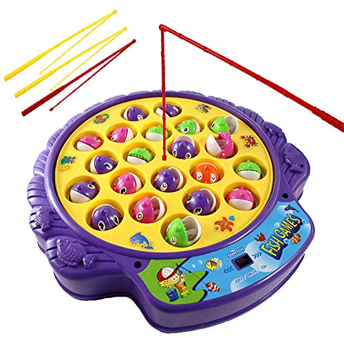 Haktoys Fishing Game Toy Set with Single-Layer Rotating Board |