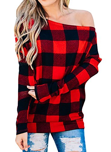 Women's Plaid Shirt Off the Shoulder Slouchy Pullover ()