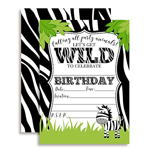 Zebra in The Jungle Birthday Party Invitations for a Wild time, 20 5''x7'' Fill in Cards with Twenty White Envelopes by AmandaCreation. by Amanda Creation