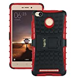 Heartly Flip Kick Stand Spider Hard Dual Rugged Shock Proof Tough Hybrid Armor Bumper Back Case Cover For Xiaomi Redmi 3S Prime / Redmi 3S - Hot Red