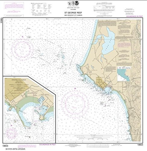 NOAA Chart 18603-St. George Reef and Crescent City Harbor; Crescent City Harbor - Water-Resistant - by East View Geospatial
