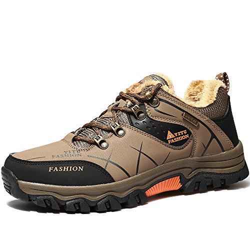 Vilocy En Plein Air Homme Imperméable Randonnée Sport Sneaker Fourrure Ligne Bottes De Neige Chaussures Fourrure Kaki43