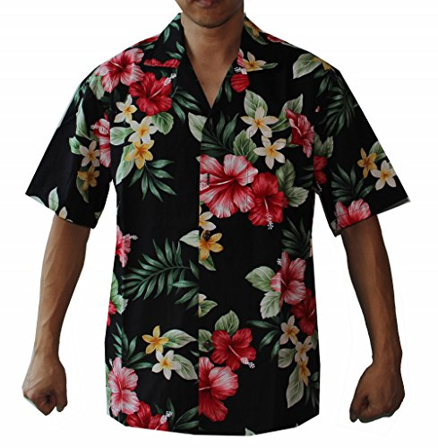 Make in Hawaii Mens Hibiscus Floral Cruise Luau Hawaiian Aloha Shirt