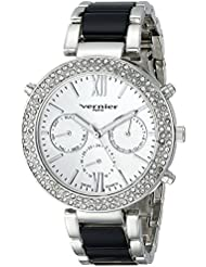 Vernier Paris Womens VNRP11171SS Crystal-Accented Silver-Tone Watch
