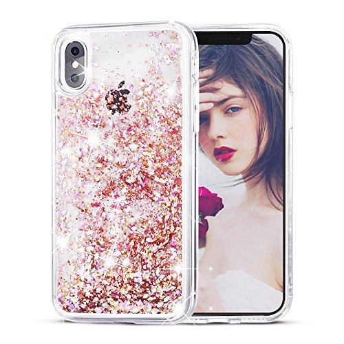 SUPVIN Creative Glitter Liquid Sparkle Bling Bumper Case Clear [TPU+PC] Floating Quicksand Protective Grily Cute Phone Cover Compatible for iPhone X/iPhone 10 (Pink)