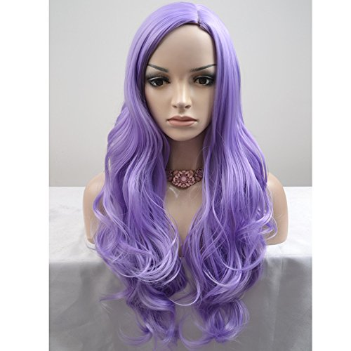 BERON Long Curly Women Girls Charming Full Wigs for Cosplay Party or Daily Use with Wig Cap (Lavender Purple)]()