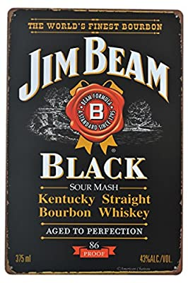 "Retro 12"" Jim Bean Kentucky Bourbon Whiskey Bar Decor Metal Wall Sign Plaque"