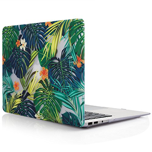 iDOO Matte Print Hard Case for MacBook Air 13 inch Model A1369 and A1466 Palm leaves